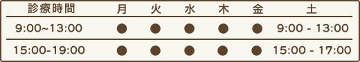 日本カイロプラクティックセンター成城 月~金 9:00~13:00 15:00~19:00、土 8:30~15:00